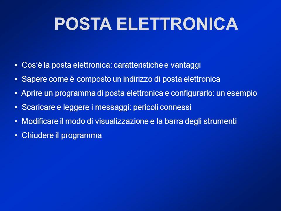 POSTA ELETTRONICA Cos'è la posta elettronica: caratteristiche e vantaggi. Sapere come è composto un indirizzo di posta elettronica.