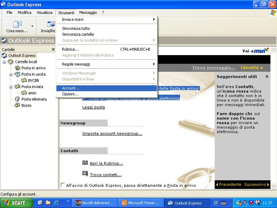Rif. 7.4.3.1 Cliccare sul menu STRUMENTI e cliccare su ACCOUNT