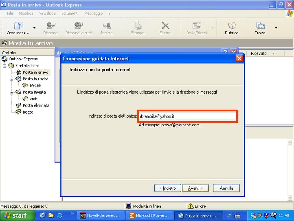 Rif. 7.4.3.1 Inserire nel campoi di testo INDIRIZZO DI POSTA ELETTRONICA l'indirizzo della propria posta elettronica;