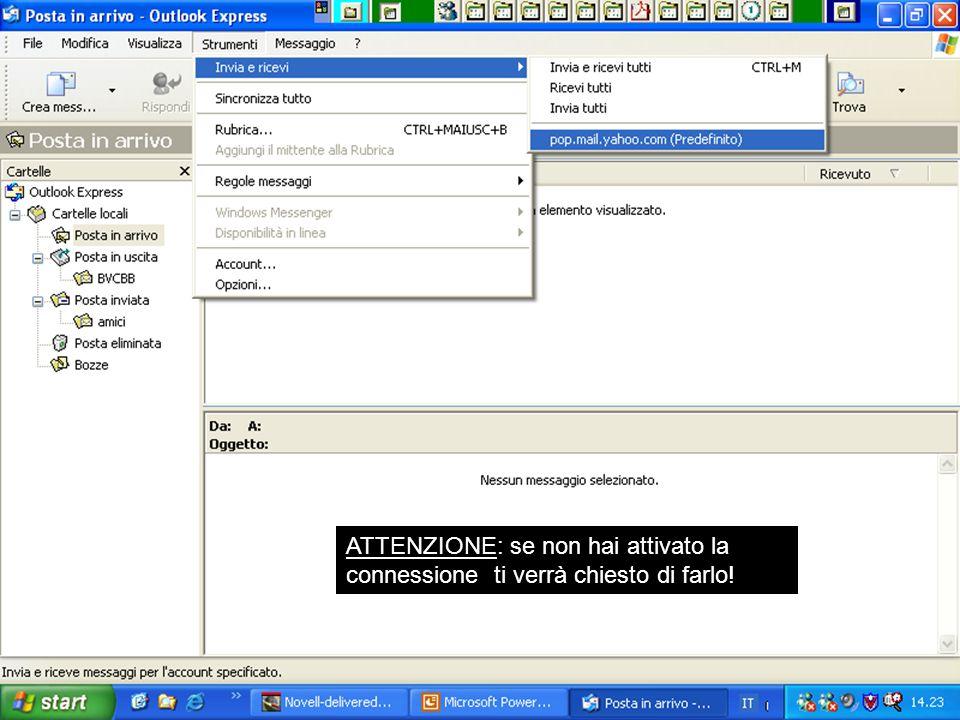 Rif. 7.4.3.3 Portare il puntatore del mouse sulla Voce INVIA E RICEVI. Nella finestra che si apre: