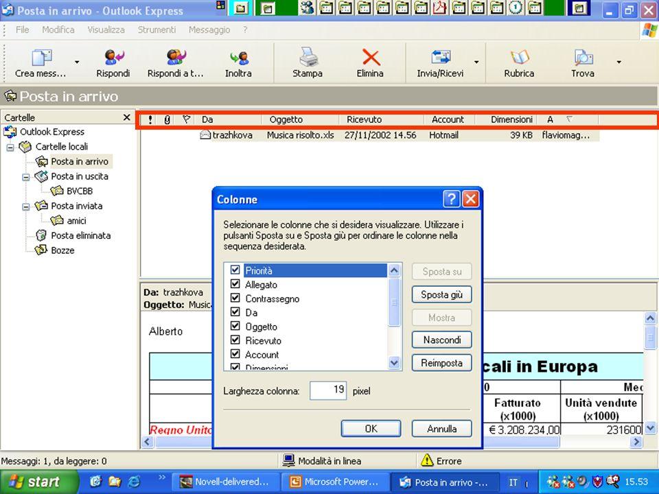 Rif. 7.4.4 Per modificare le colonne visualizzate nell'elenco dei messaggi: scegliere COLONNE dal menu VISUALIZZA.