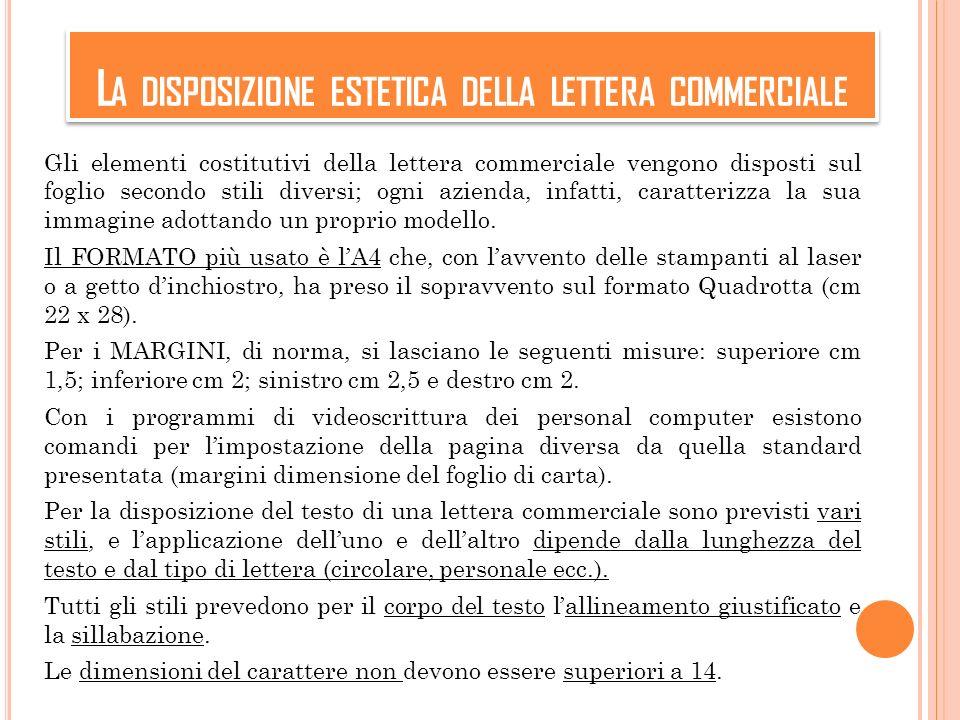 La disposizione estetica della lettera commerciale