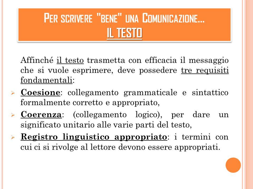 Per scrivere bene una Comunicazione… IL TESTO