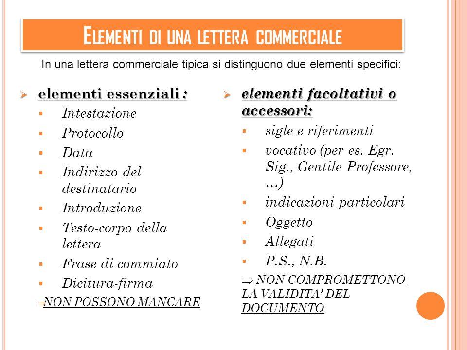 Elementi di una lettera commerciale