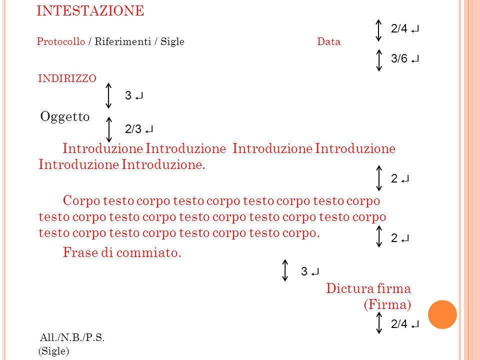 Introduzione INTESTAZIONE Oggetto