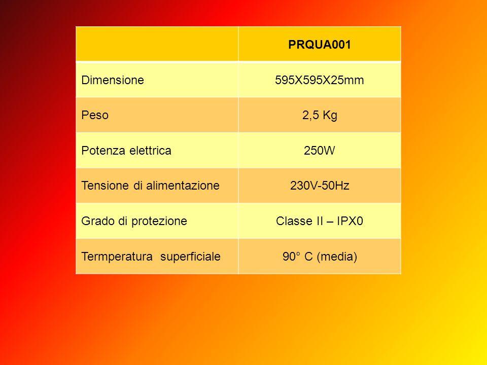 PRQUA001 Dimensione. 595X595X25mm. Peso. 2,5 Kg. Potenza elettrica. 250W. Tensione di alimentazione.