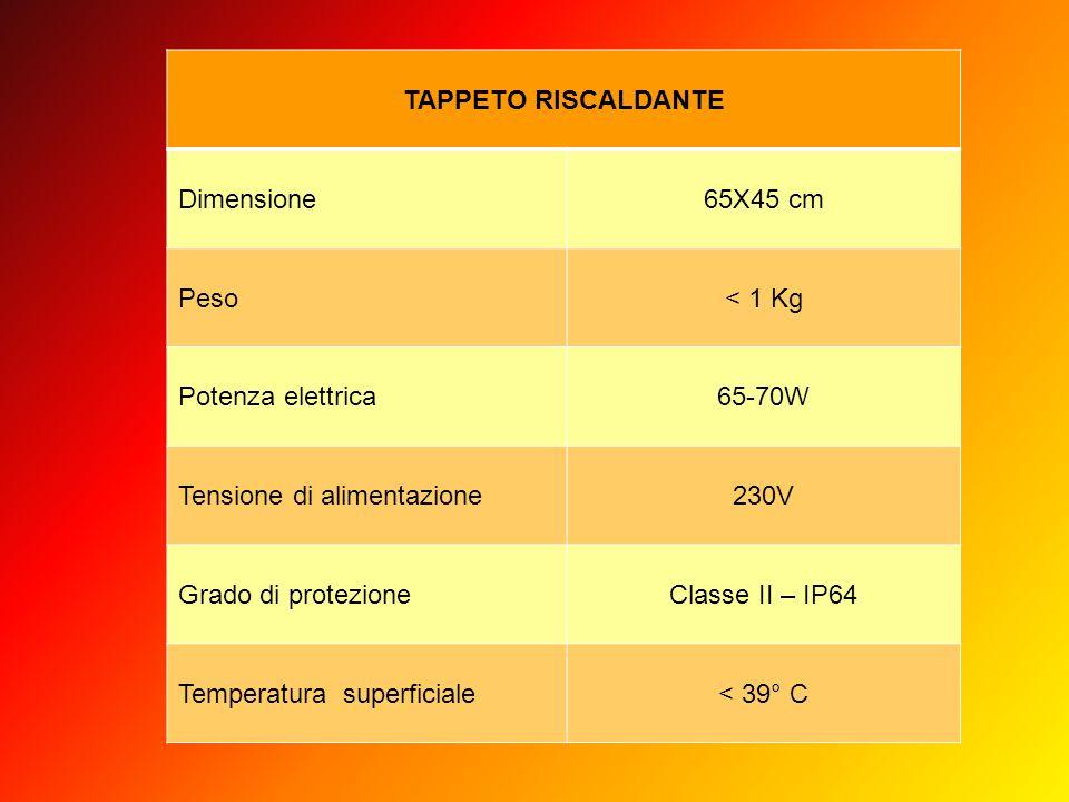TAPPETO RISCALDANTE Dimensione. 65X45 cm. Peso. < 1 Kg. Potenza elettrica. 65-70W. Tensione di alimentazione.
