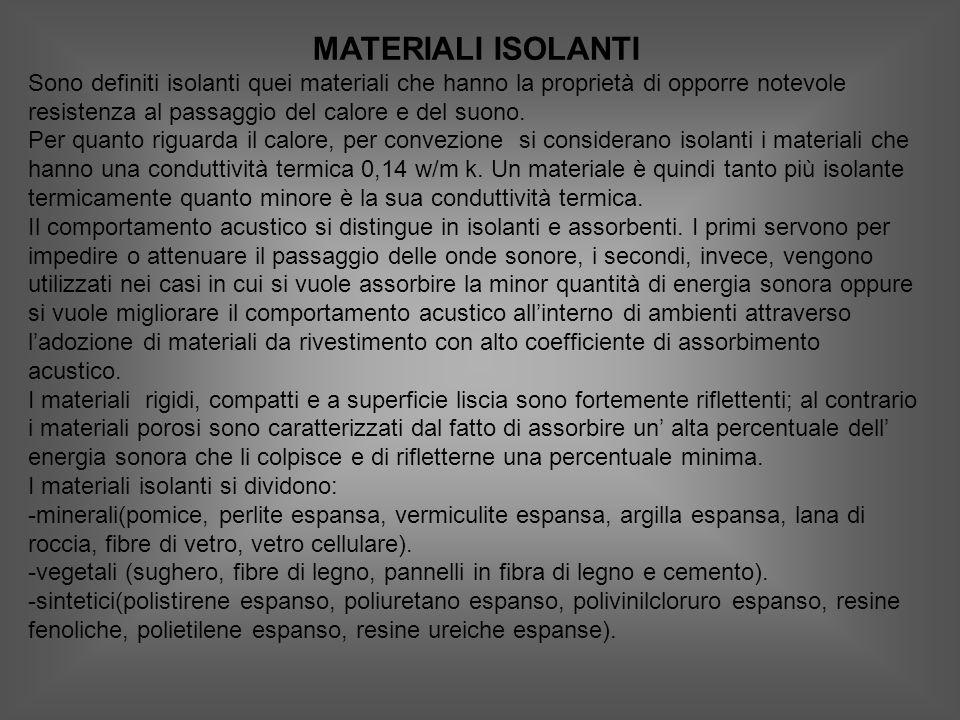 MATERIALI ISOLANTI Sono definiti isolanti quei materiali che hanno la proprietà di opporre notevole resistenza al passaggio del calore e del suono.