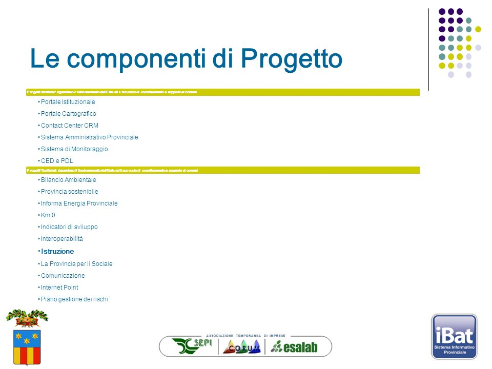 Le componenti di Progetto