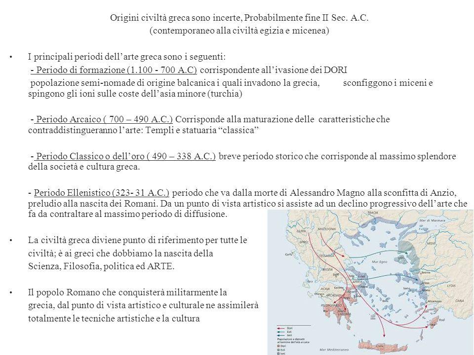 Origini civiltà greca sono incerte, Probabilmente fine II Sec. A.C.