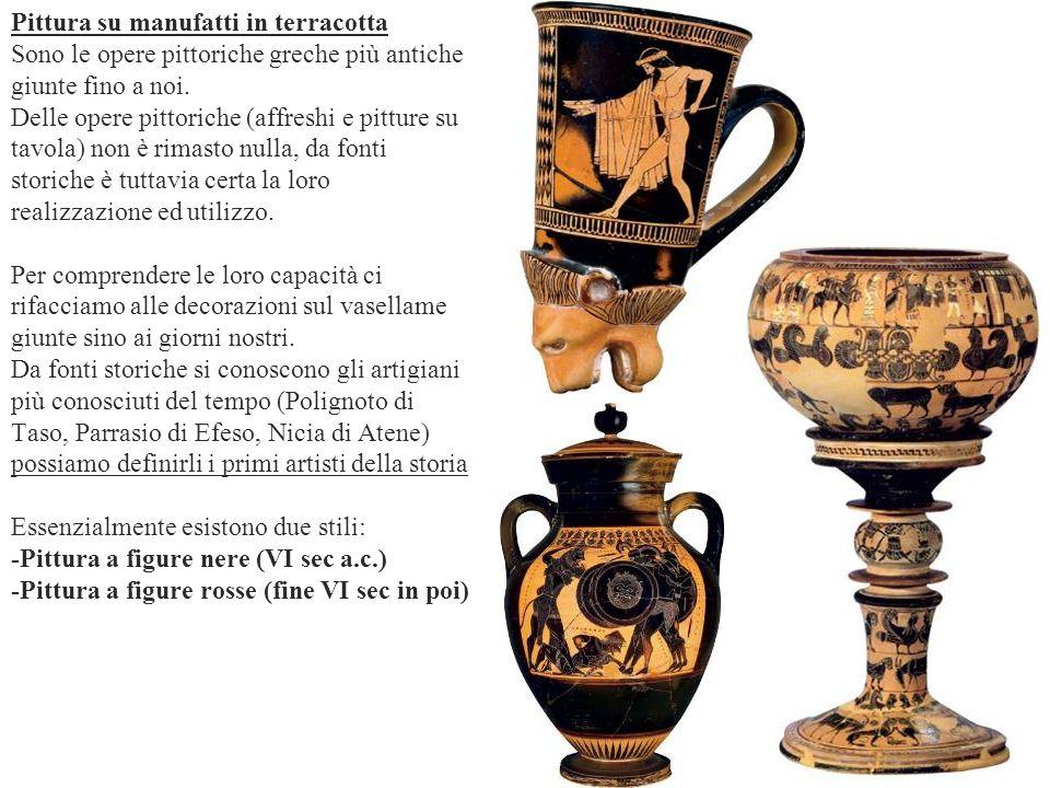 Pittura su manufatti in terracotta Sono le opere pittoriche greche più antiche giunte fino a noi.