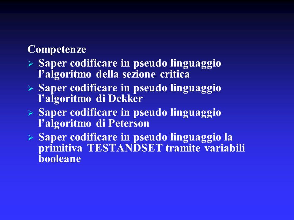 Competenze Saper codificare in pseudo linguaggio l'algoritmo della sezione critica. Saper codificare in pseudo linguaggio l'algoritmo di Dekker.