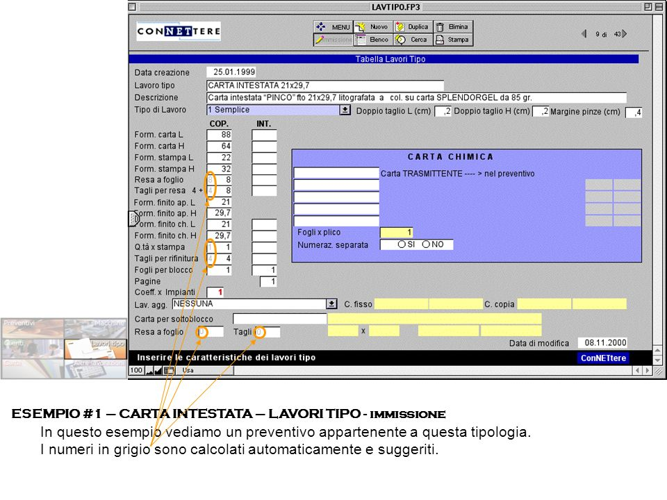 ESEMPIO #1 – CARTA INTESTATA – LAVORI TIPO - immissione