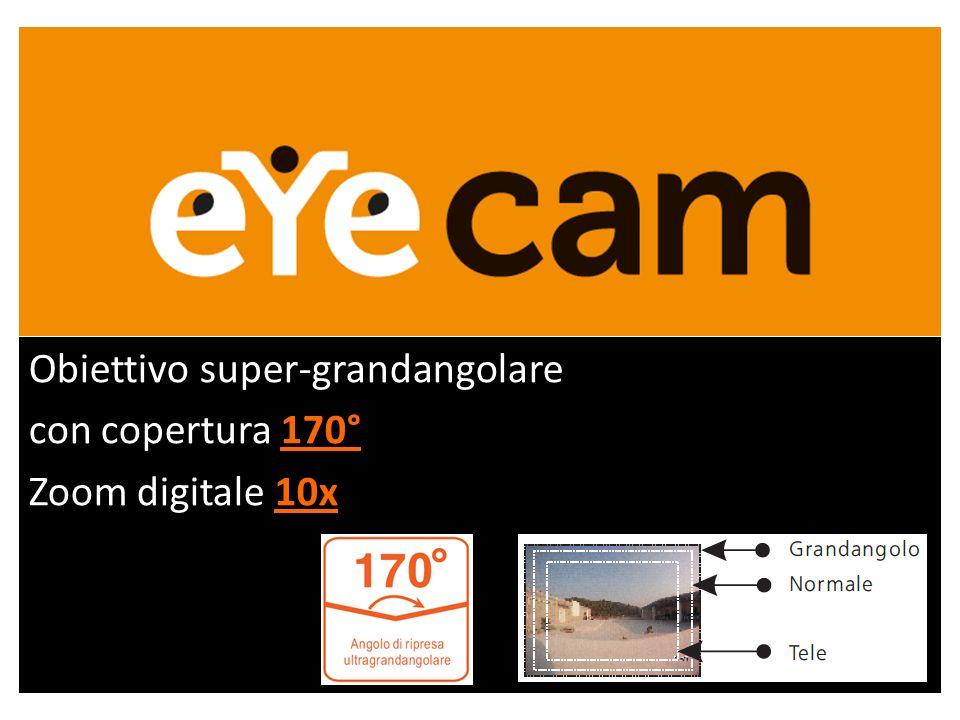 Obiettivo super-grandangolare con copertura 170° Zoom digitale 10x