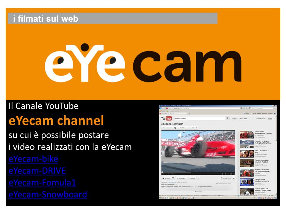 eYecam channel Il Canale YouTube su cui è possibile postare