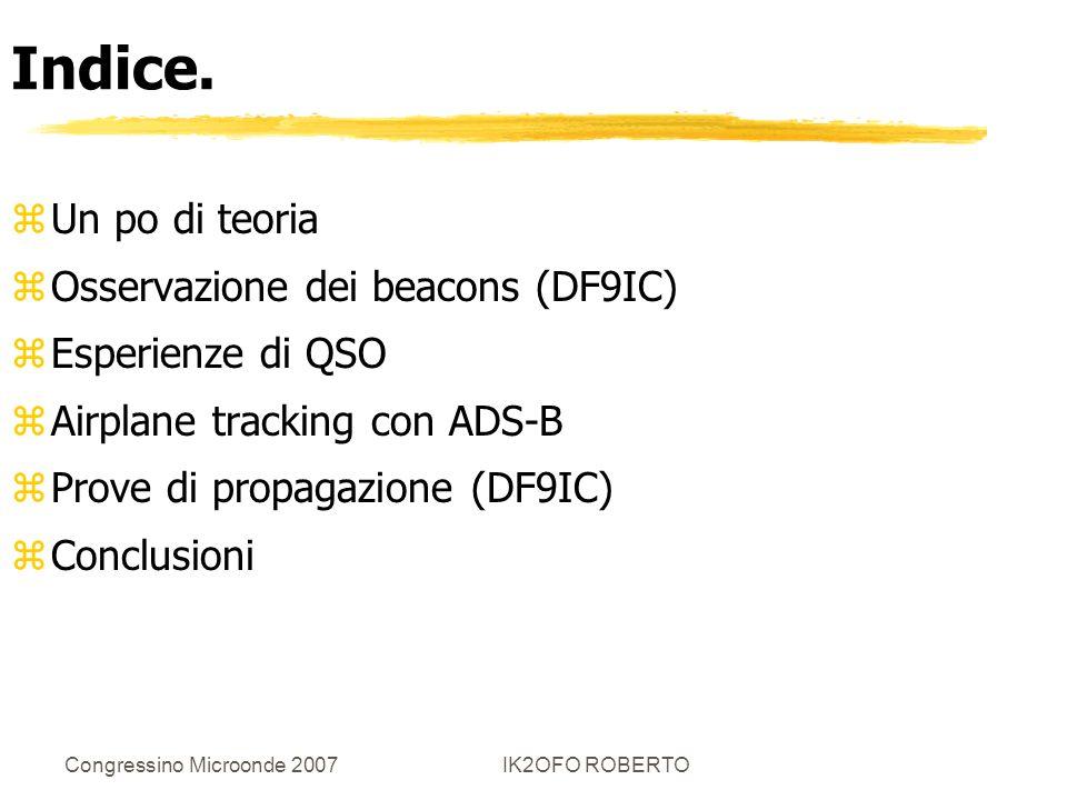 Indice. Un po di teoria Osservazione dei beacons (DF9IC)