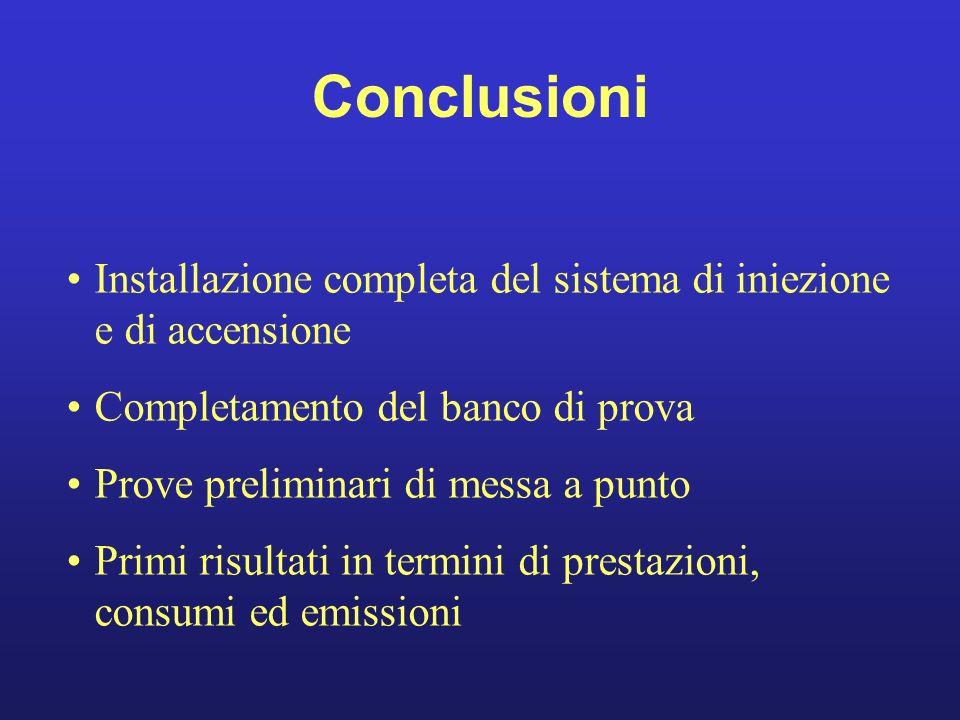 Conclusioni Installazione completa del sistema di iniezione e di accensione. Completamento del banco di prova.