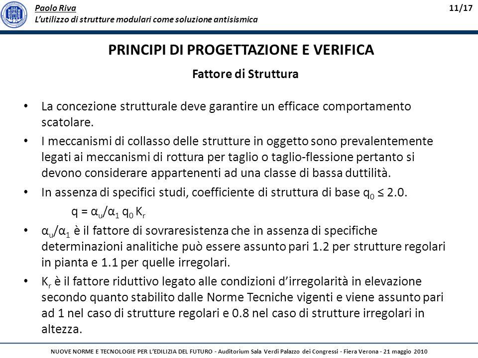 PRINCIPI DI PROGETTAZIONE E VERIFICA