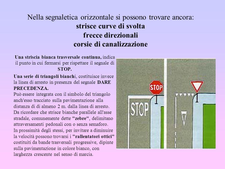Nella segnaletica orizzontale si possono trovare ancora: strisce curve di svolta frecce direzionali corsie di canalizzazione
