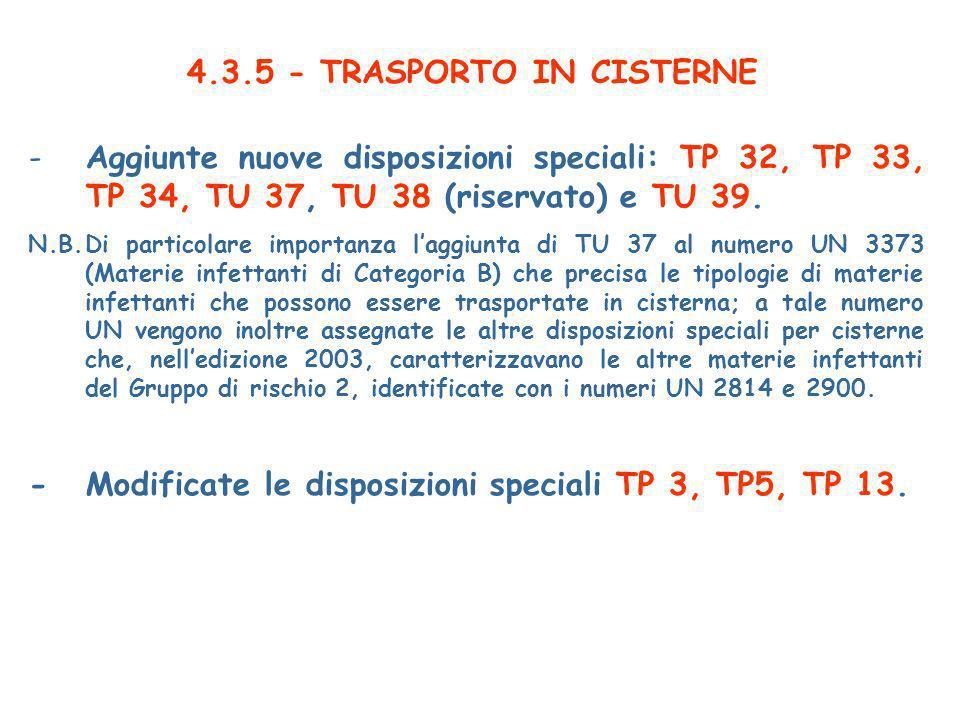 4.3.5 - TRASPORTO IN CISTERNE
