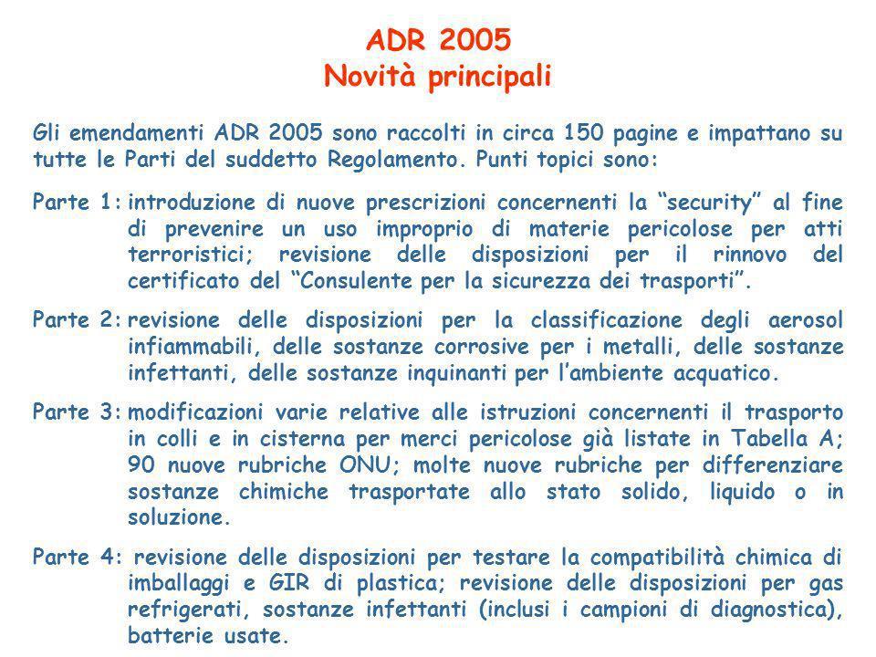 ADR 2005 Novità principali