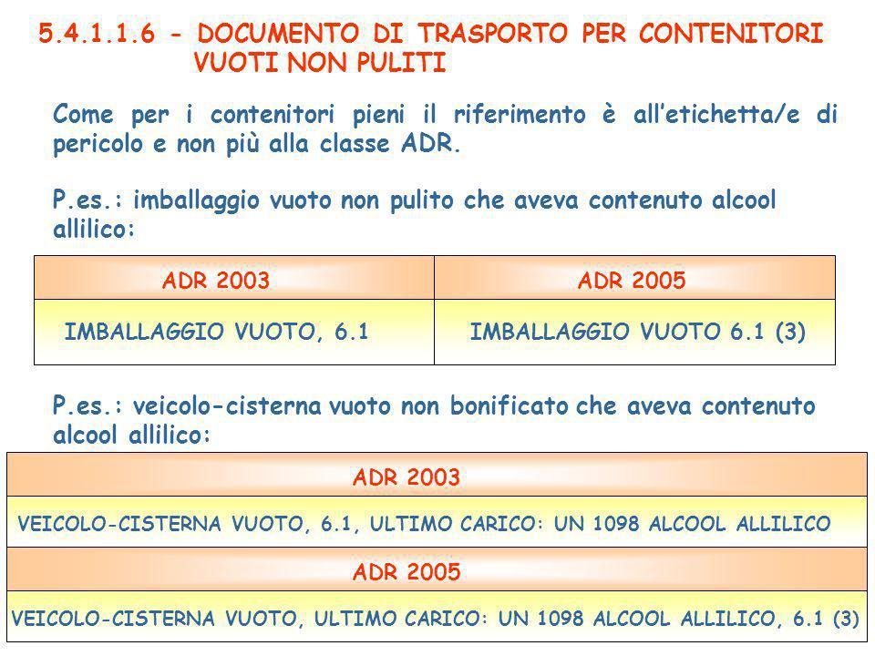 5.4.1.1.6 - DOCUMENTO DI TRASPORTO PER CONTENITORI VUOTI NON PULITI