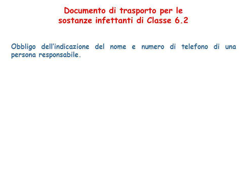 Documento di trasporto per le sostanze infettanti di Classe 6.2