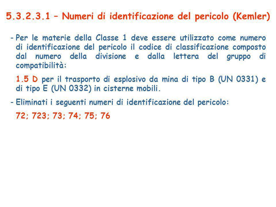 5.3.2.3.1 – Numeri di identificazione del pericolo (Kemler)