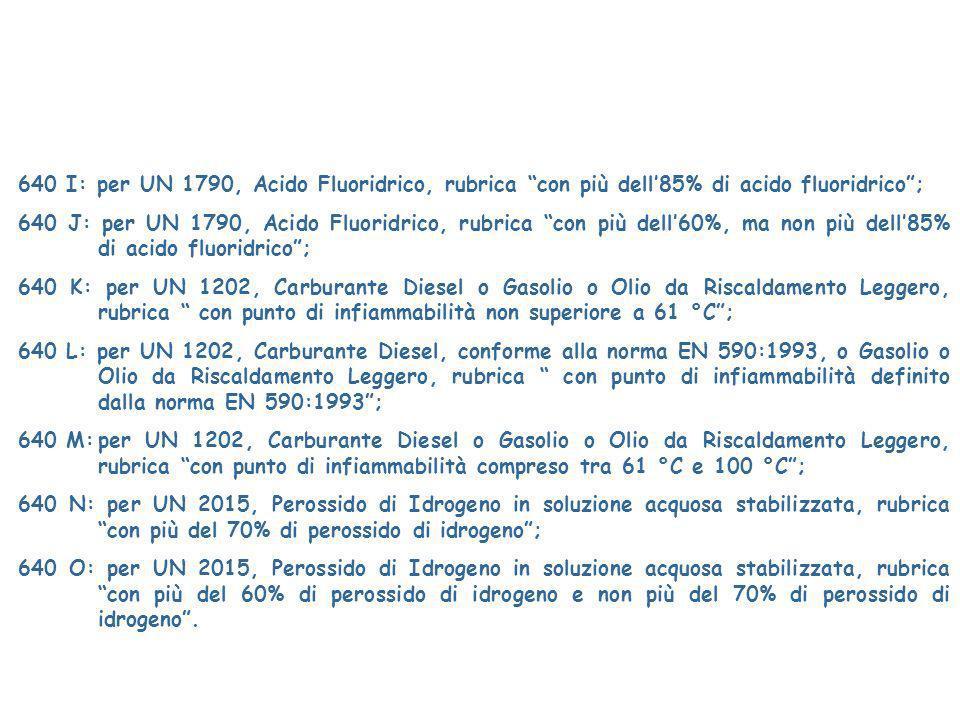 640 I: per UN 1790, Acido Fluoridrico, rubrica con più dell'85% di acido fluoridrico ;