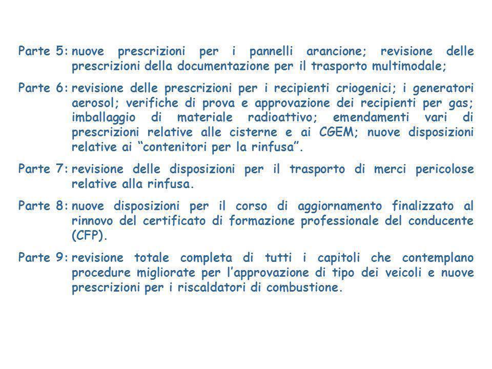 Parte 5: nuove prescrizioni per i pannelli arancione; revisione delle prescrizioni della documentazione per il trasporto multimodale;