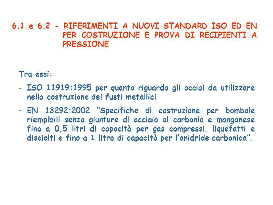 6.1 e 6.2 - RIFERIMENTI A NUOVI STANDARD ISO ED EN PER COSTRUZIONE E PROVA DI RECIPIENTI A PRESSIONE