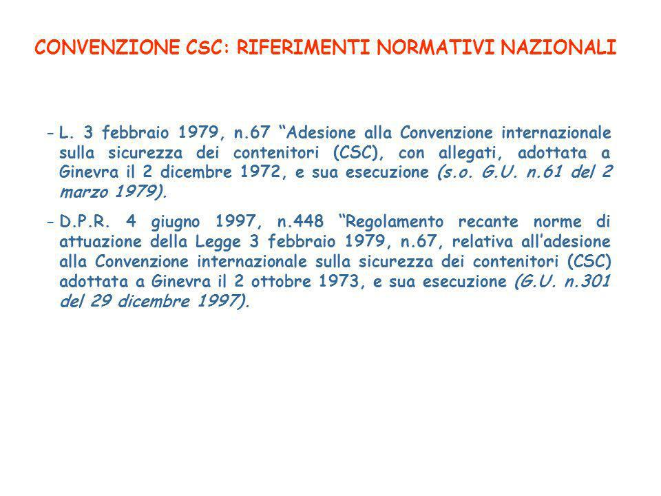 CONVENZIONE CSC: RIFERIMENTI NORMATIVI NAZIONALI