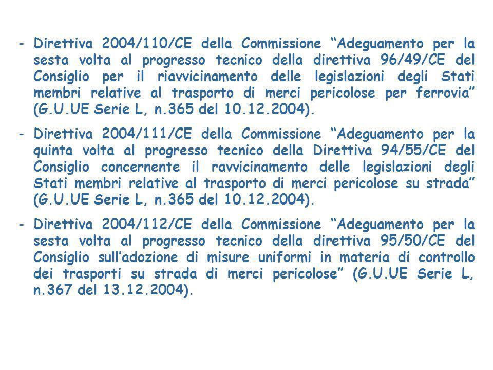 Direttiva 2004/110/CE della Commissione Adeguamento per la sesta volta al progresso tecnico della direttiva 96/49/CE del Consiglio per il riavvicinamento delle legislazioni degli Stati membri relative al trasporto di merci pericolose per ferrovia (G.U.UE Serie L, n.365 del 10.12.2004).
