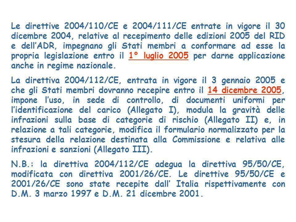 Le direttive 2004/110/CE e 2004/111/CE entrate in vigore il 30 dicembre 2004, relative al recepimento delle edizioni 2005 del RID e dell'ADR, impegnano gli Stati membri a conformare ad esse la propria legislazione entro il 1° luglio 2005 per darne applicazione anche in regime nazionale.