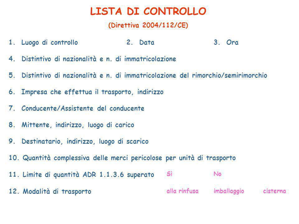 LISTA DI CONTROLLO (Direttiva 2004/112/CE) 1. Luogo di controllo