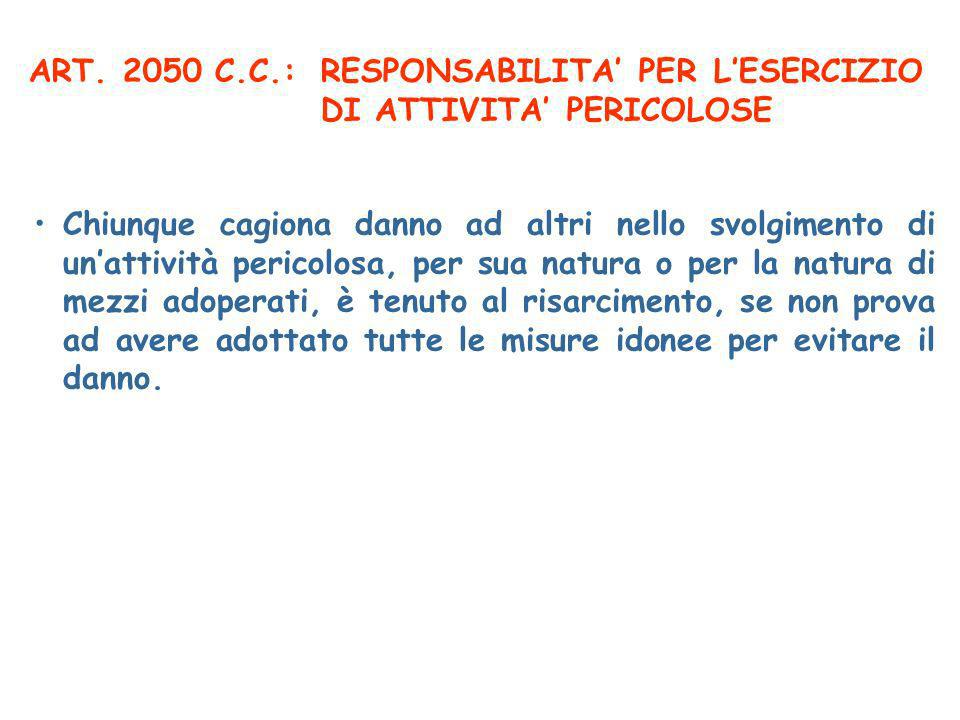 ART. 2050 C.C.: RESPONSABILITA' PER L'ESERCIZIO DI ATTIVITA' PERICOLOSE