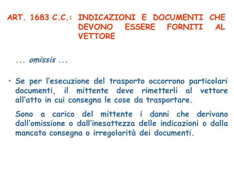 ART. 1683 C.C.: INDICAZIONI E DOCUMENTI CHE DEVONO ESSERE FORNITI AL VETTORE