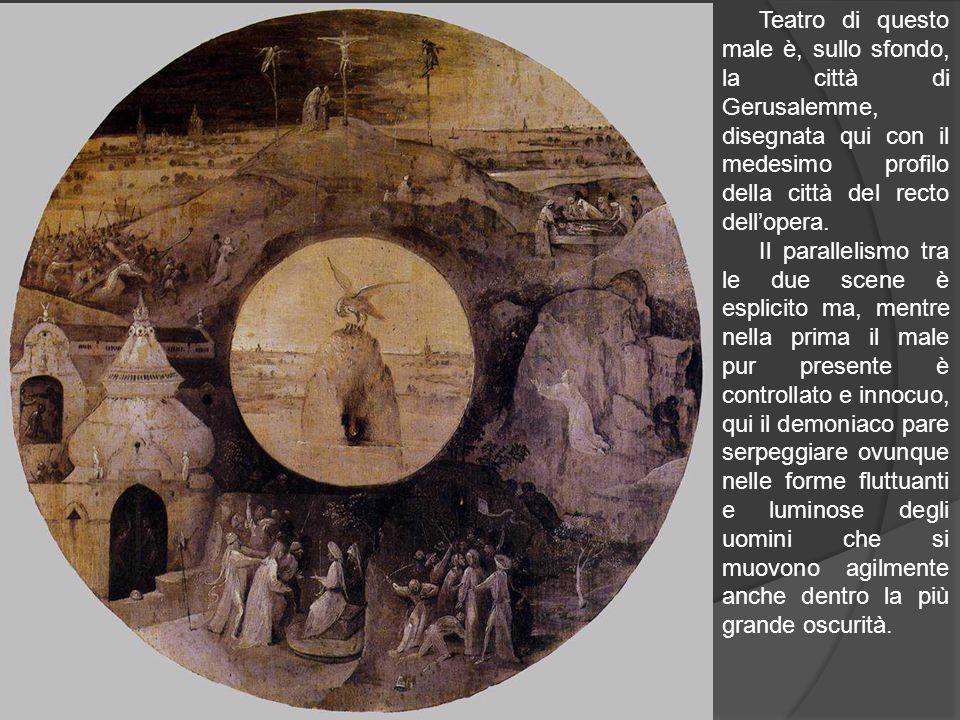 Teatro di questo male è, sullo sfondo, la città di Gerusalemme, disegnata qui con il medesimo profilo della città del recto dell'opera.
