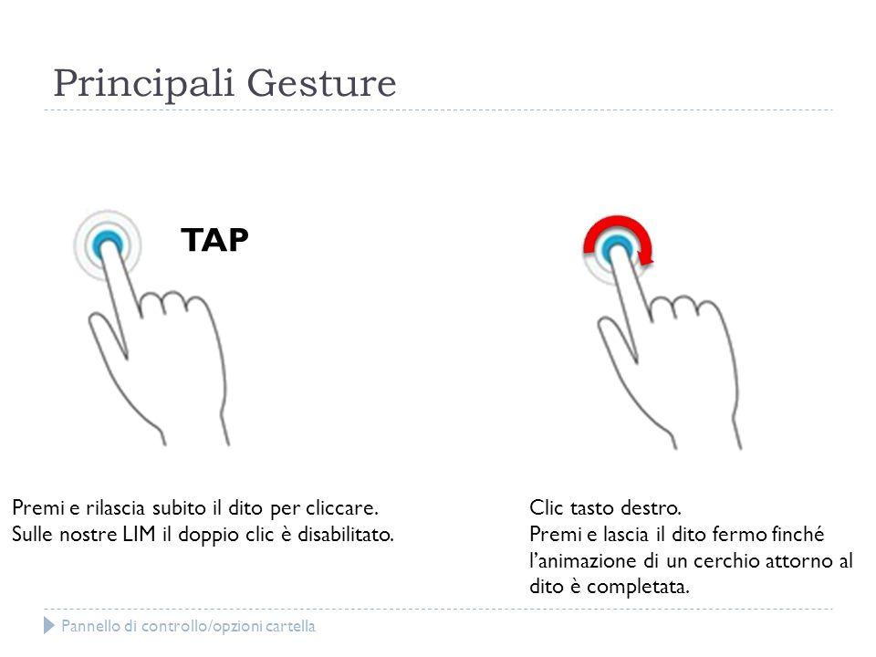 Principali Gesture TAP Premi e rilascia subito il dito per cliccare.