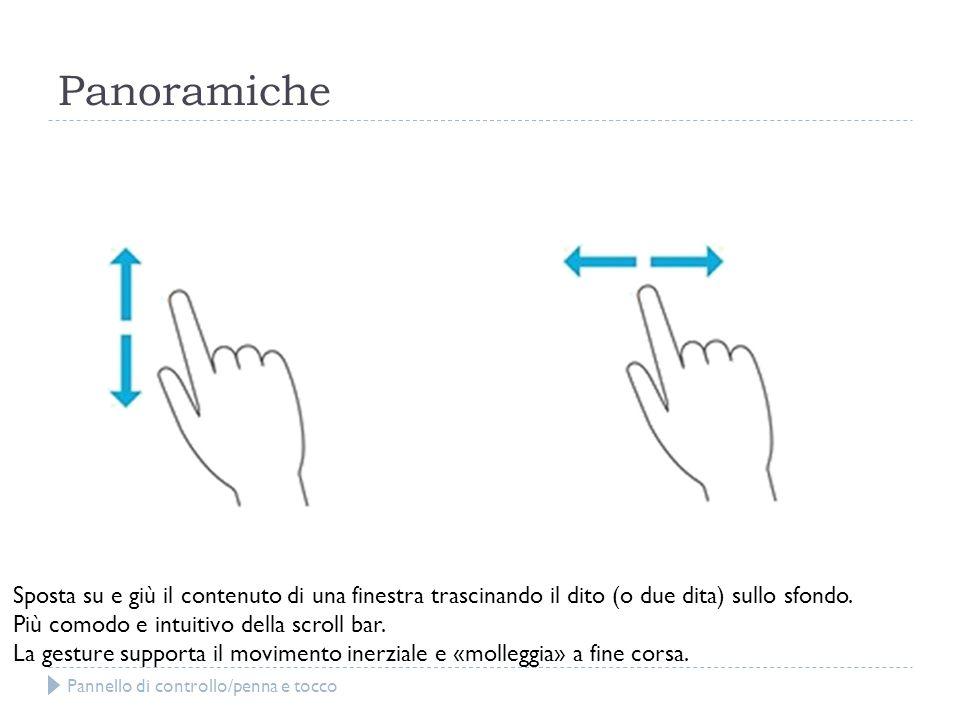 Panoramiche Sposta su e giù il contenuto di una finestra trascinando il dito (o due dita) sullo sfondo.