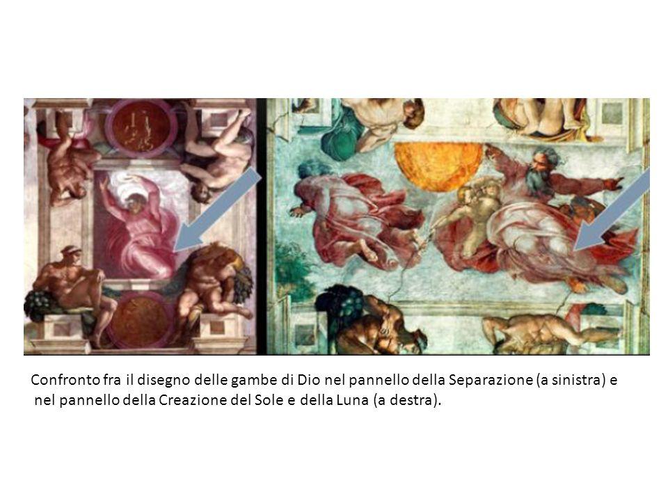 Confronto fra il disegno delle gambe di Dio nel pannello della Separazione (a sinistra) e