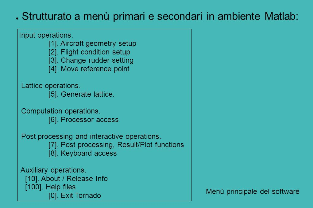 Strutturato a menù primari e secondari in ambiente Matlab: