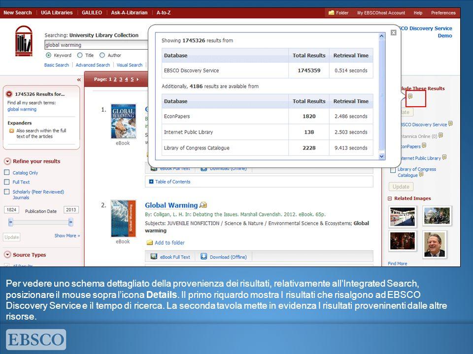 Per vedere uno schema dettagliato della provenienza dei risultati, relativamente all'Integrated Search, posizionare il mouse sopra l'icona Details.