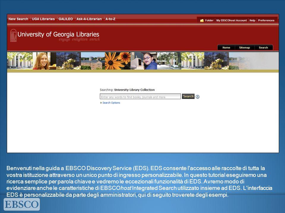 Benvenuti nella guida a EBSCO Discovery Service (EDS)