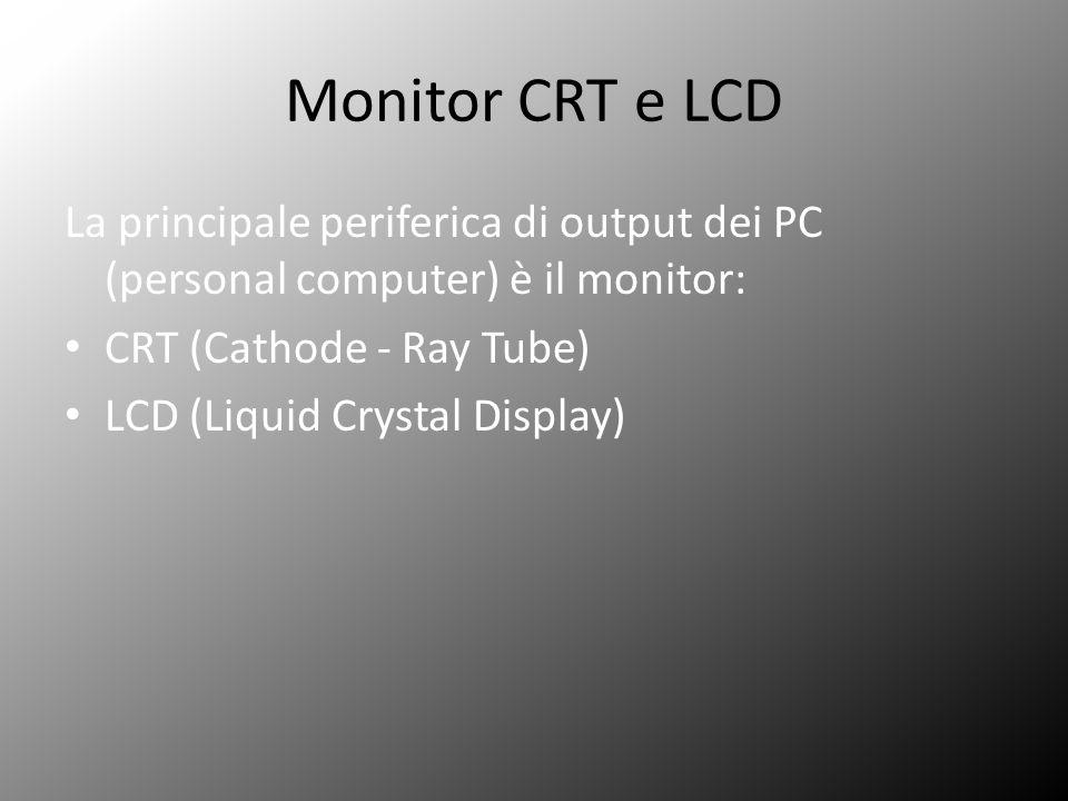 Monitor CRT e LCD La principale periferica di output dei PC (personal computer) è il monitor: CRT (Cathode - Ray Tube)