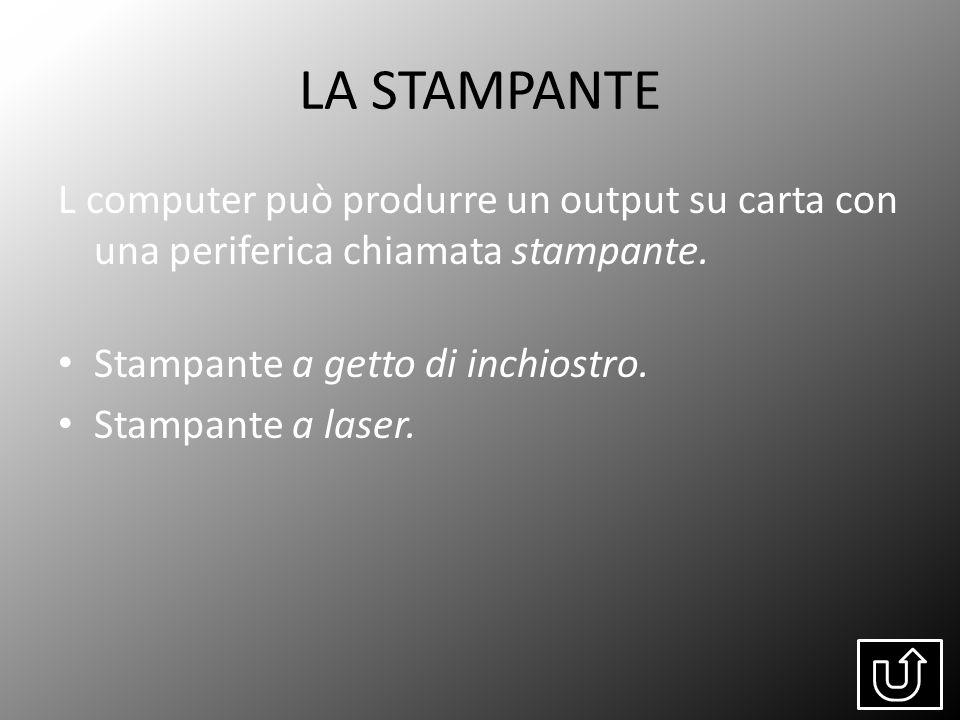 LA STAMPANTE L computer può produrre un output su carta con una periferica chiamata stampante. Stampante a getto di inchiostro.