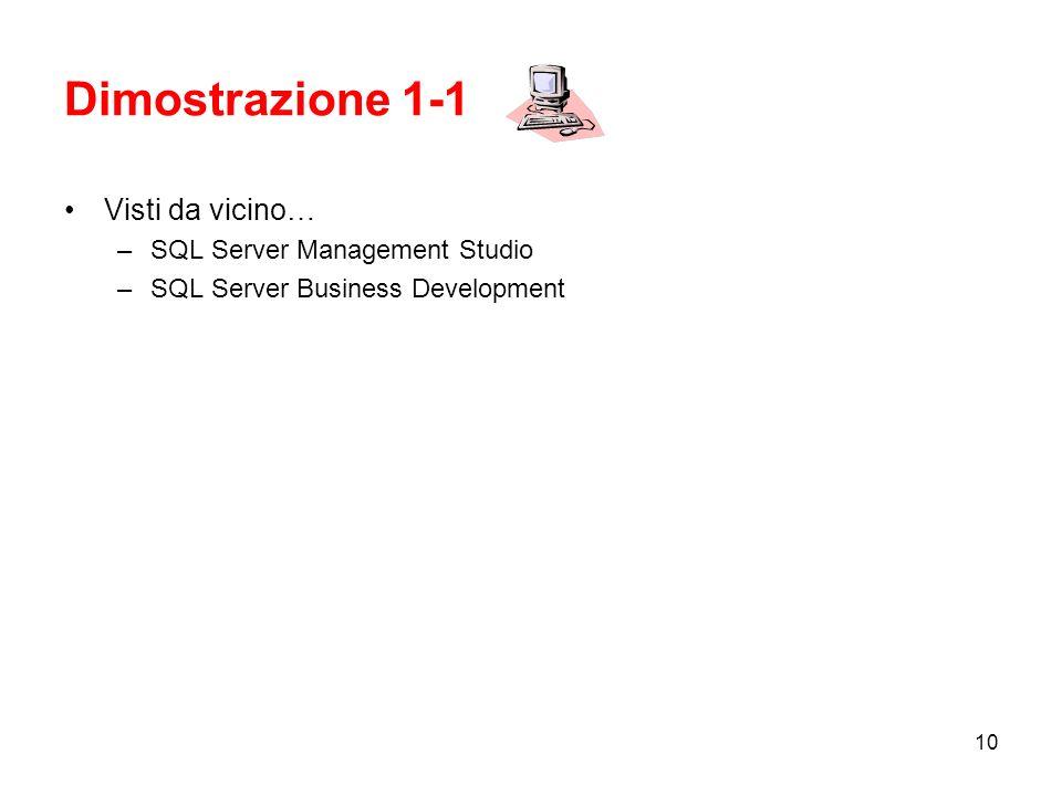 Dimostrazione 1-1 Visti da vicino… SQL Server Management Studio