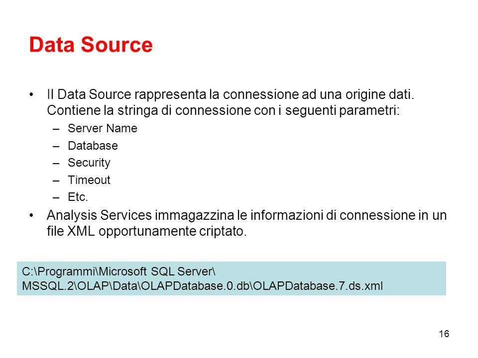 Data Source Il Data Source rappresenta la connessione ad una origine dati. Contiene la stringa di connessione con i seguenti parametri: