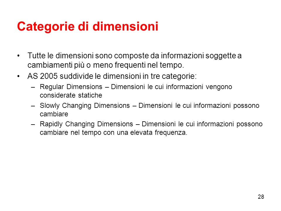 Categorie di dimensioni