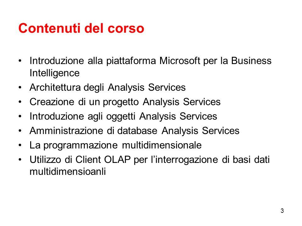 Contenuti del corso Introduzione alla piattaforma Microsoft per la Business Intelligence. Architettura degli Analysis Services.
